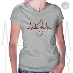 Cat Heartbeat Womens T-Shirt
