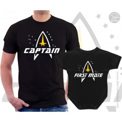 Star Trek Captain and First mate Matching T-Shirt and Onesie