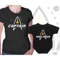 Star Trek Captain and First mate Matching T Shirt and Onesie