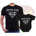 Superman Superdad and Sidekick Matching T Shirt and Onesie