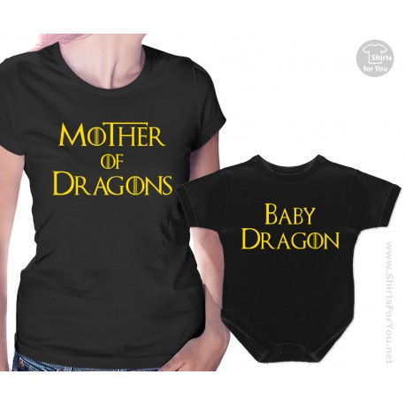 Mother Of Dragons And Baby Dragon T Shirt And Onesie