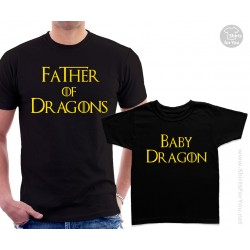 Father of Dragons and Son, Daughter or Baby Dragon Matching T-Shirts