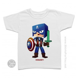 Minecraft Captain America Kids T-Shirt