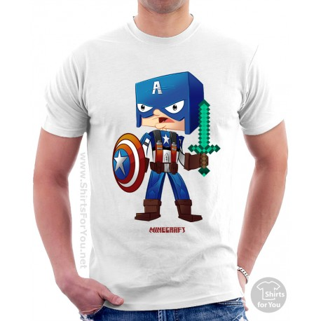 Minecraft Captain America T Shirt