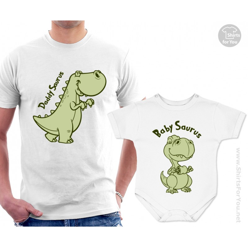 Daddysaurus And Babysaurus Matching T Shirt And Onesie