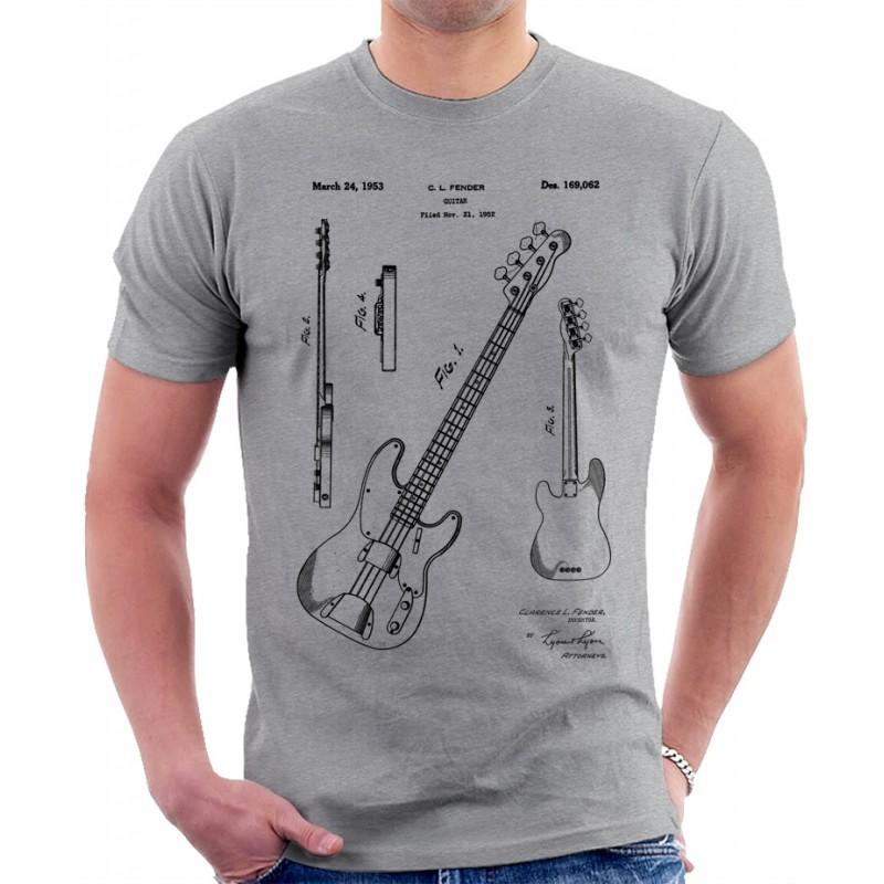 fender bass guitar patent print t shirt. Black Bedroom Furniture Sets. Home Design Ideas