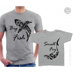 Big Fish and Small Fry Sharks Matching T Shirts