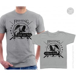 Fishing with my Dad and Fishing with my Son Matching T-Shirts
