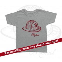 Firefighter Helmet Personalized Birthday Kids T Shirt