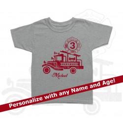 Fire Truck Personalized Birthday Kids T Shirt