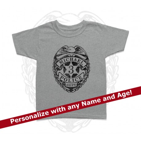 Police Badge Personalized Birthday Kids T Shirt