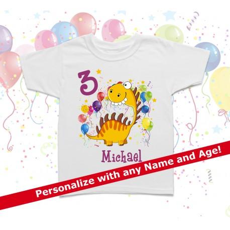 b3ba119d6 Dino Personalized Birthday Kids T Shirt
