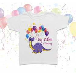 Big Sister Dinosaur Birthday Kids T Shirt
