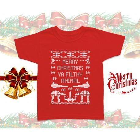14f4ac44 Merry Christmas Ya Filthy Animal Star Wars Kids T Shirt