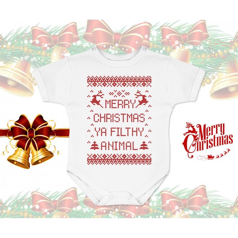 Merry Christmas Ya Filthy Animal Baby Onesie