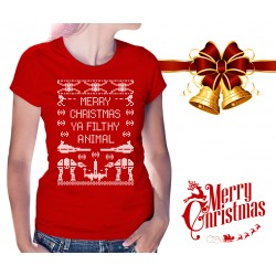 Merry Christmas Ya Filthy Animal Star Wars Womens T-Shirt