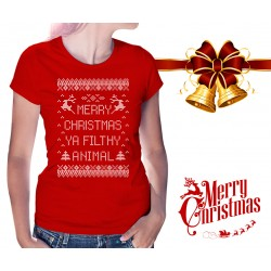 Merry Christmas Ya Filthy Animal Womens T-Shirt