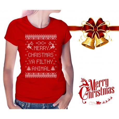 Merry Christmas Ya Filthy Animal Shirt.Merry Christmas Ya Filthy Animal Womens T Shirt