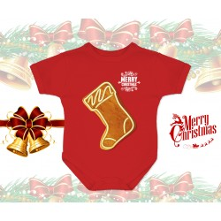 Christmas Gingerbread Sock Baby Onesie