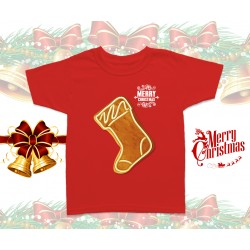 Christmas Gingerbread Sock Kids T-Shirt