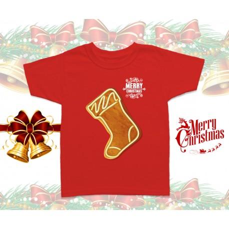 Christmas Gingerbread Sock Kids T-Shirt
