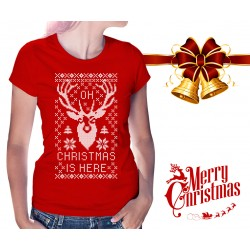Oh Deer Christmas is Here Womens T-Shirt