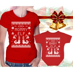 Christmas Elves Matching Womens T Shirt and Onesie