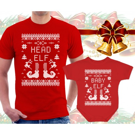 Christmas Elves Matching T Shirt and Onesie
