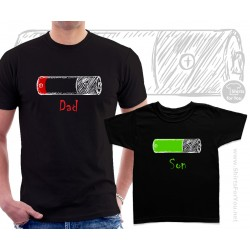Battery Father and Son Matching T Shirts