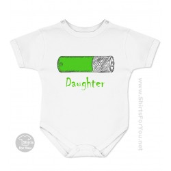 Battery Daughter Baby Onesie