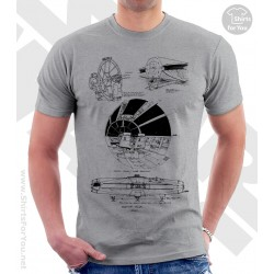 Millenium Falcon Star Wars Sketchbook Drawing T Shirt