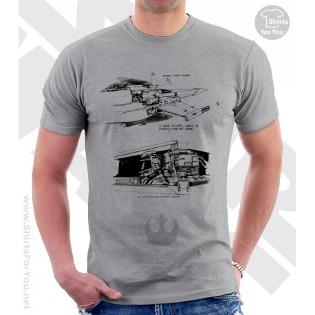 X-Wing Fighter Star Wars Sketchbook Drawing T Shirt