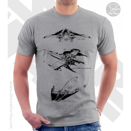 X-Wing Star Wars Sketchbook Drawing T Shirt