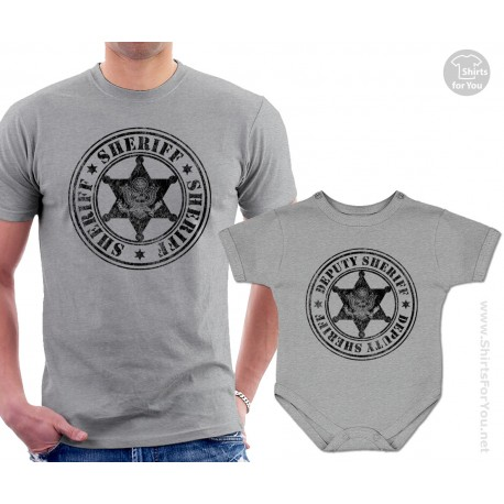 Sheriff and Deputy Sheriff Matching T Shirt and Onesie