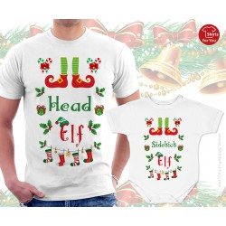 Head Elf and Baby Elf Matching T Shirt and Onesie