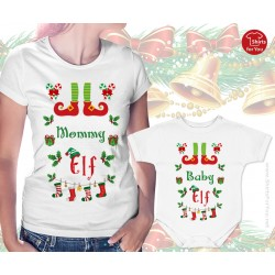 Mommy Elf and Baby Elf Matching Womens T Shirt and Onesie