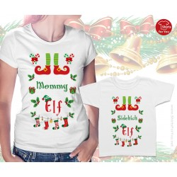 Mommy Elf and Sidekick Elf Matching T Shirts