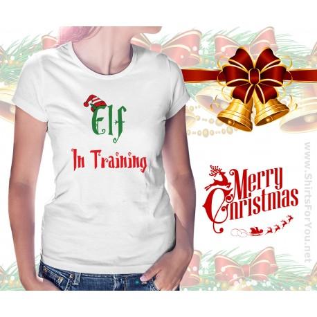 Elf in Training Christmas Womens T Shirt