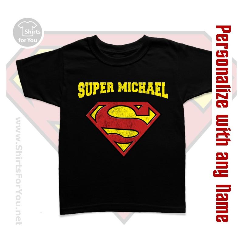 Supermen personalized kids t shirt for Custom kids t shirts