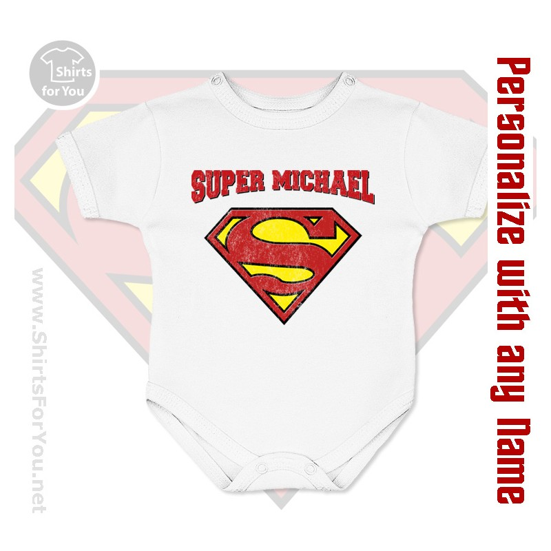 027a04455 Supermen Personalized Baby Onesie