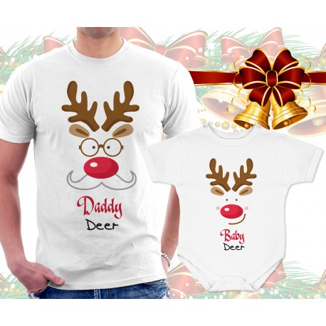 Daddy Deer and Baby Deer Matching T Shirt and Onesie