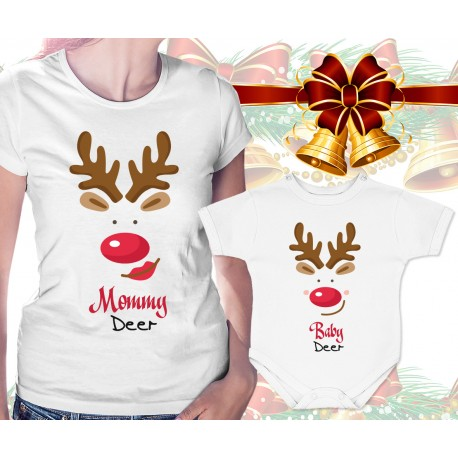 Mommy Deer and Baby Deer Matching Womens T Shirt and Onesie