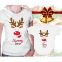 Mommy Deer and Baby Deer Matching Womens T-Shirt and Onesie
