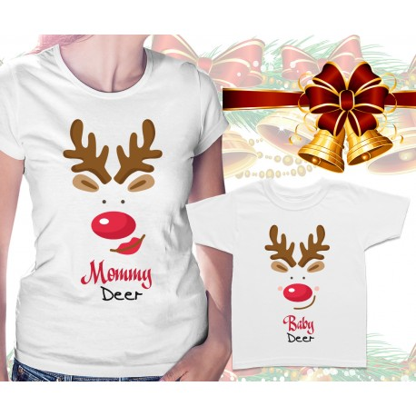 Mommy Deer and Baby Deer Matching T Shirts