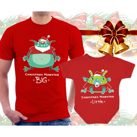 XMAS Monsters Matching T Shirt and Onesie