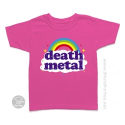 Funny Death Metal Rainbow Kids T Shirt