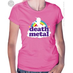 Funny Death Metal Unicorn Womens T-Shirt, Funny Death Metal Rainbow T-Shirt