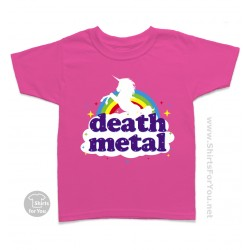 Funny Death Metal Unicorn Kids T Shirt