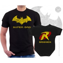 Batman Superdad and Robin Sidekick Matching T-Shirt and Onesie
