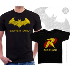 Batman Superdad and Robin Sidekick Matching T-Shirts
